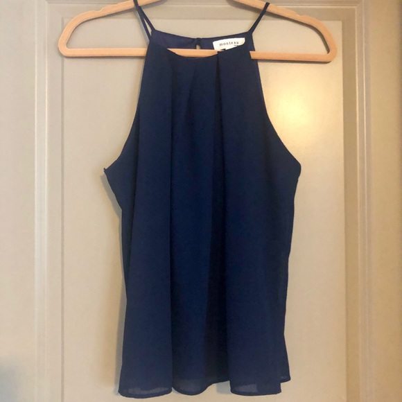 Monteau Tops - Blue Tank with Sheer Cover